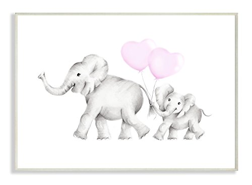 Stupell Industries Mama and Baby Elephants Wall Plaque Art, 10 x 0.5 x 15, Proudly Made in ()