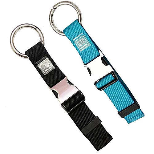 (2PCS Heavy Duty Add a Bag Luggage Strap Jacket Gripper,Carry-on Baggage Suitcase Straps Belts Travel Accessories (Black/Blue))