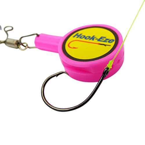 HOOK-EZE Fishing Gear Knot Tying Tool for Fishing Hooks – Cover Hooks on Fishing Rods   Line Cutter   for Saltwater Freshwater Bass Kayak Ice Fishing (Pink)