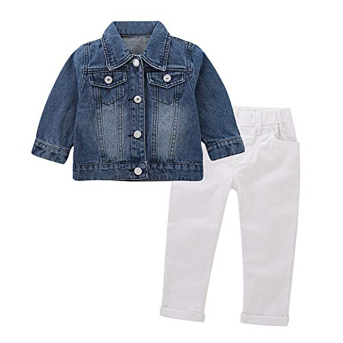 Miwear Spring Autumn Toddler Outfits Baby Girl Long Sleeve Denim Jacket + Long Pants Clothing Set (Style A, 12-18 Months)