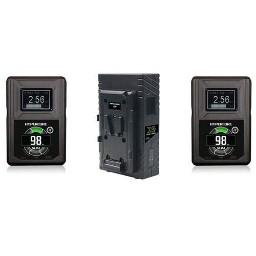 Core SWX Two Position Simultaneous V-Mount Battery Charger with 90W Camera Power Supply - With 2 Pack Core SWX Hypercore Slim 98Wh 14.8V V-Mount Battery by Core SWX