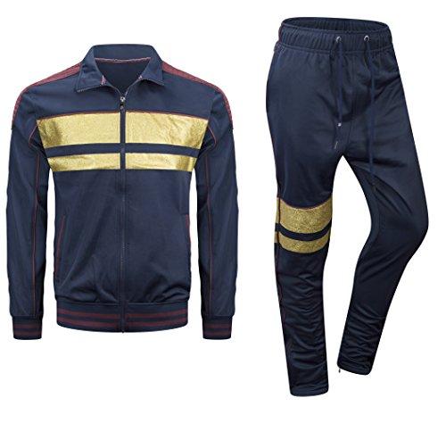 New Men Stripe Zip Pocket Track Pants Sweatsuit Track Suit Zipper Joggers (Medium, - Shop Balmain Men