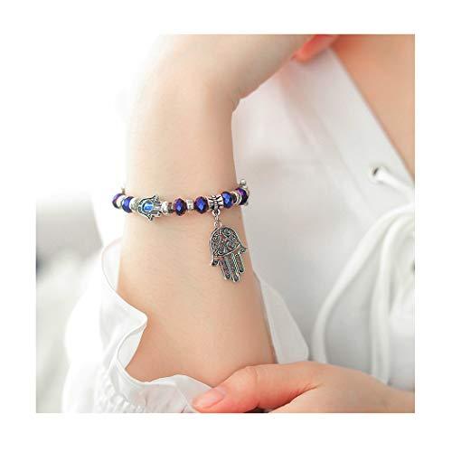- Edary Hamsa Hand Bracelet with Blue Evil Eye for Women and Girls(Purple)
