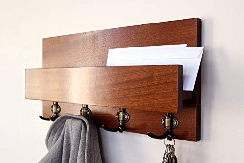 Modern Rustic Handmade Hardwood Shelf - Natural Sapele Entryway Coat Rack Organizer with Phone and Mail Storage, Letter Holder, Home Decor, Wall Organizer - Natural Sapele