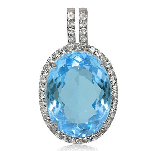 HUGE 11.54ct. Genuine Blue Topaz White Gold Plated 925 Sterling Silver Pendant (Sterling Silver Topaz Slide Pendant)