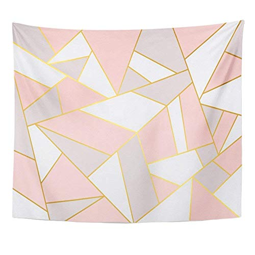 - Emvency Tapestry Mandala 50x60 inch Home Decor Colorful Gold Pink Grey Geometry White Mosaic Abstract Angel Broken Color Colourful for Bedroom Living Room Dorm