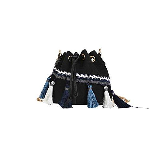 mensajero cadena Bolsa Mengonee Lienzo de con Mini Hombro cubo Niñas Mujeres Viento flecos de con cordón Bolsa Bolso de Negro FfqUawPF