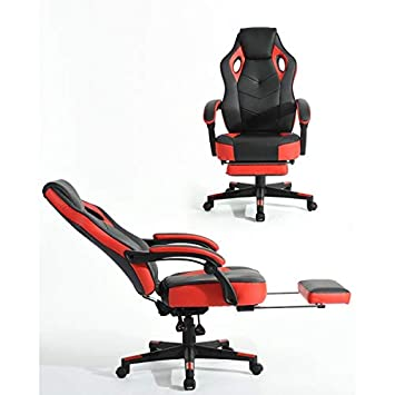 Homy Casa Managerial Executive Chairs Racing Ergonomic Backrest and Seat Height Adjustment Computer Chair with Footrest Recliner Swivel Lean Back Chairs Red-Black