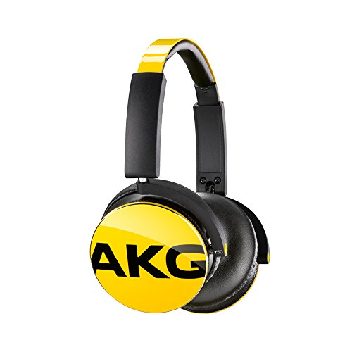 AKG Y50 Yellow On-Ear Headphone with In-Line One-Button Universal Remote/Microphone, Yellow (Akg Folding Headphones)