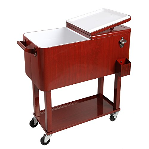 HIO 80 Qt Outdoor Patio Cooler Table On Wheels, Rolling C...