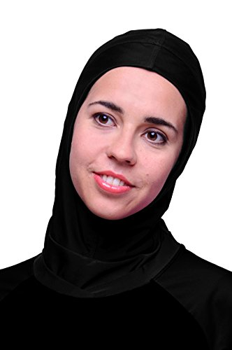 HydroChic Women's Hijab Swim Cap – Swimsuit Hood With UV Sun Protection One Size Fits Most, Black by HydroChic