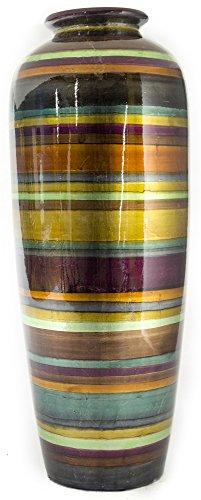 - Heather Ann Creations Modern Ceramic Stripe Floor Vase Ceramic Water Jug, 24