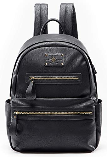 miss fong Backpack For Women , Womens Backpack Leather, Backpack Purse, Laptop Backpack with USB Charger,Fits 13 Inch, 14 Inch Laptop (Black)