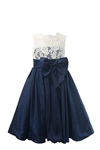 Miama Ivory Lace Navy Blue Taffeta Wedding Flower Girl Dress Junior Bridesmaid Dress -