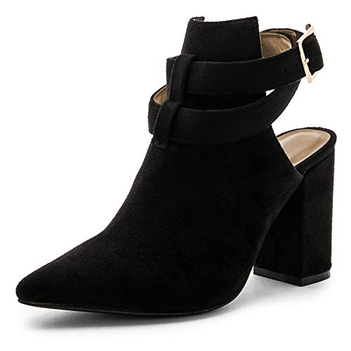 Dress YDN Ankle Black Pumps with Straps Bootie Mid Pointed Heel Shoes Women Toe Buckle ZzFwZr
