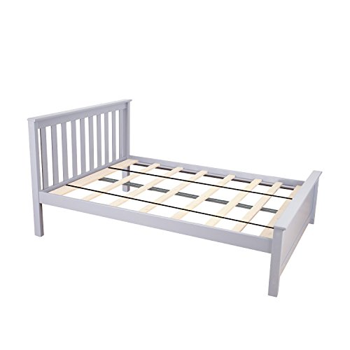 Max & Lily Solid Wood Full-Size Bed, Grey ()
