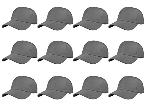 (Gelante Plain Blank Baseball Caps Adjustable Back Strap Wholesale LOT 12 Pack 001-DarkGray-12PC)
