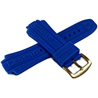 Swiss Legend 19MM Blue Silicone Rubber Watch Strap & Gold Stainless Buckle fits 53mm Neptune Watch