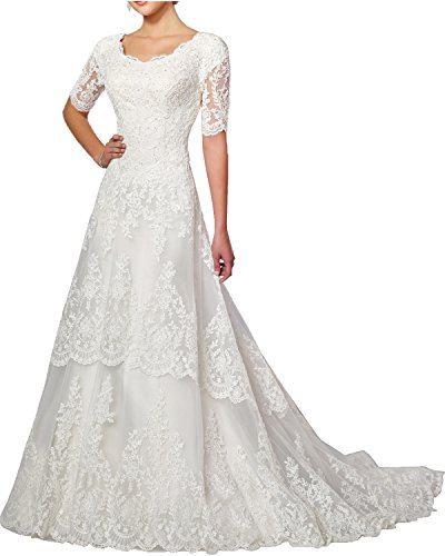 MILANO BRIDE Modest Wedding Dress For Bride White Round-Neck Sleeves Applique
