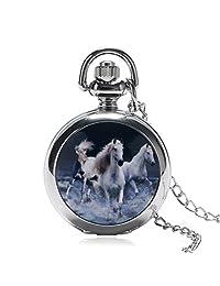 Horse Men's Pocket Watch, Vintage Silver Horse Pattern Pocket Watch Pendant Watch, Gift for Men