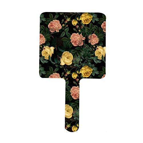 Espejo de mano con diseno de rosas antiguas Redoute en color negro para maquillaje facial, salon de peluqueria, peluqueria y espejo de mano