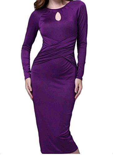 Confortables Femmes Manches Longues Robe Midi Gaine Crayon Moulante Ras Du Cou Pattern2