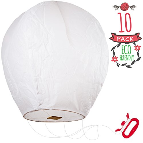 Sky High Kite Chinese Lanterns 10 Pack - White, Fully Assembled with 100 Feet -