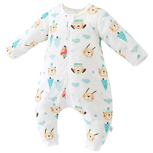 CYUURO Baby Sleeping Bag 4 Layered Cotton Gauze Long Sleeves Wearable Blankets Detachable