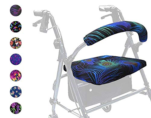 Crutcheze Made in USA Rollator Walker Seat and Backrest Covers | Designer Fashion Accessories (Peacock Feathers) (Rolling Cover Chair)