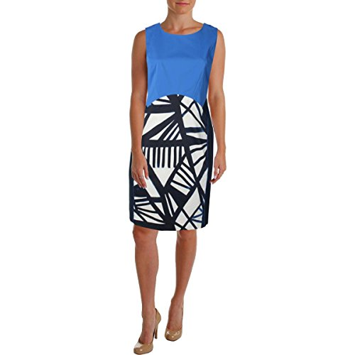 Lafayette 148 Womens Plus Printed Shift Wear to Work Dress Blue 16W