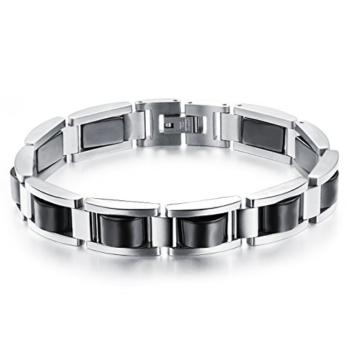 LineAve Men's Stainless Steel Magnetic Therapy Bracelet, Adjustable Length, Free Link Removal Tool, Black Hematite, 3d3024s22