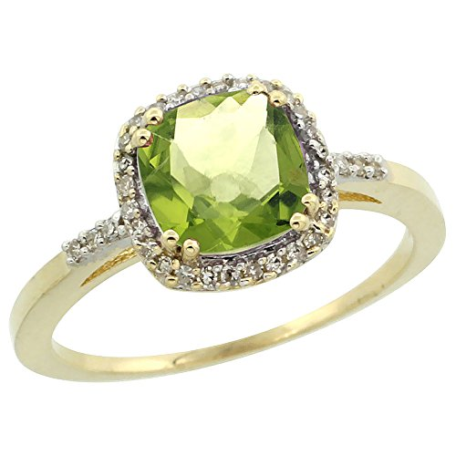 10K Yellow Gold Diamond Natural Peridot Ring Cushion-cut 7x7mm, size 10