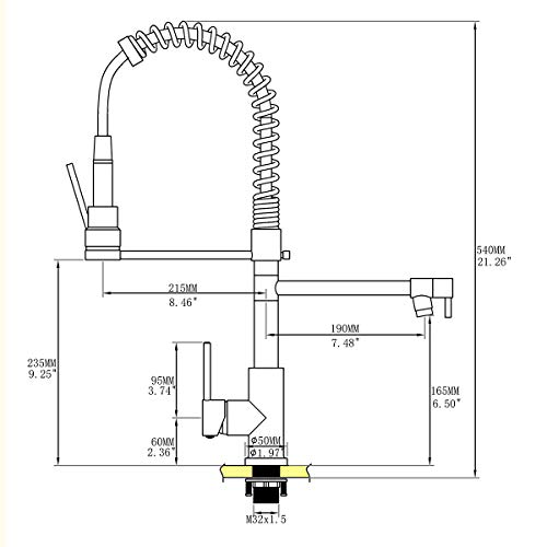 Commercial Kitchen Faucet Oil Rubbed Bronze Delle Rosa Modern Single Handle High Arch Spring Pre-rinse Farm Kitchen Sink Faucets by Delle Rosa (Image #5)