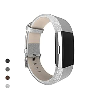 Fitbit Charge 2 Band, Bear Village® Genuine Leather Band for Fitbit Charge 2, Adjustable Replacement Sport Bracelet Wrist Bands/Straps for Fitbit Charge 2 Smart Fitness Tracker - Silver