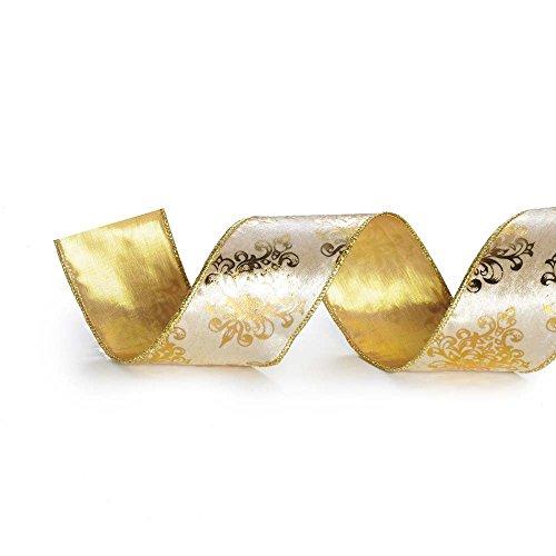 Fita De Natal Arabesco Marfim 6,3Cm C/ 9,14M Dourado