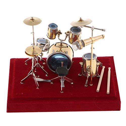 B Blesiya Alloy Miniature Drum Set Kit Model Home Studio Ornament Decoration Gift (Studio Figurine)