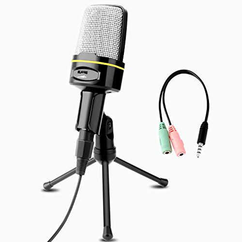 Professional Condenser Microphone, Venoro Plug & Play Home Studio Condenser Microphone with Tripod for PC , Computer, Phone for Studio Recording, Skype, Games, Podcast, Broadcasting (Black-C)