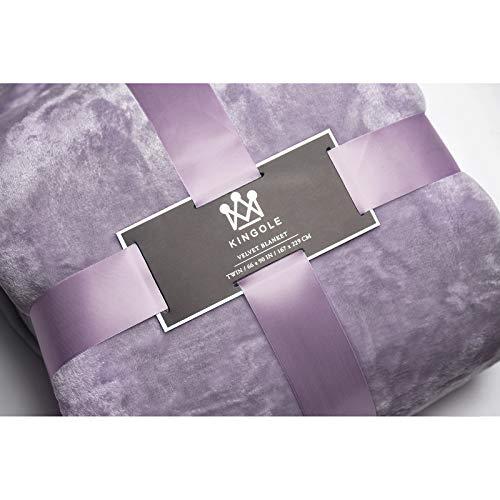 "Silky Fleece Blanket (Kingole Flannel Fleece Luxury 350GSM Lightweight Cozy Couch/Bed Ultra-Soft Plush Microfiber Silky Velvet Solid Color Blanket (Lavender, Twin-66"" x 90""))"
