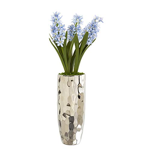Nearly Natural A1034 23in. Hyacinth Artificial Silver Vase Silk Arrangements, Blue