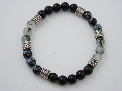 Black Obsidian & Snowflake Tourmalated Quartz Men's Bracelet Crystal Healing B139