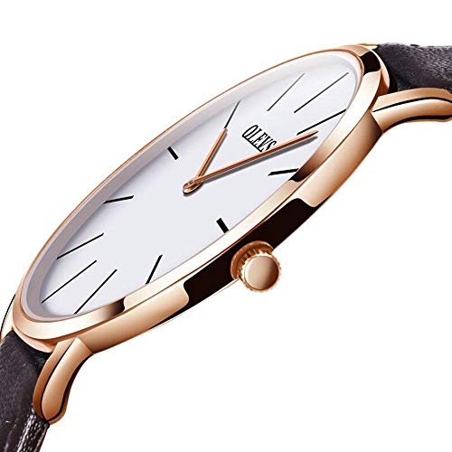 Luxury Men's Wrist Watch,Slim Analog Mens Watch Japanese Quartz Movement White Dial with Brown Leather Watch Band 40mm Metal Cale,Ultra Thin Men's Rose Gold Leather Strap Watches