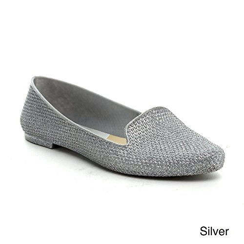 EASOS GEAL A318 Womens Glitttering Comformt Almond Toe Loafer, Color:SILVER, Size:7