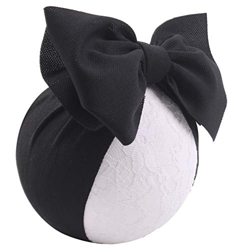 - YanJie Baby Large Bows Headwrap Stretch Textured Fabric Top Knot headband Hair Accessories (black)