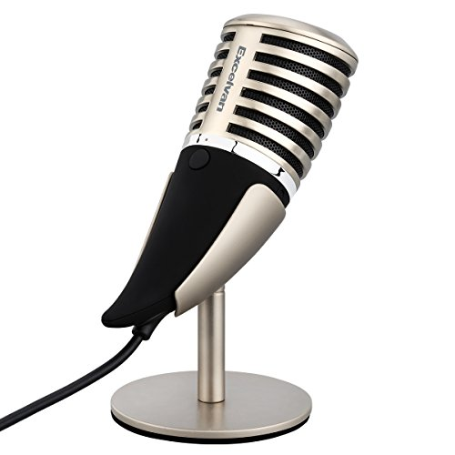 Excelvan SF-700 Condenser Microphone Professional 3.5mm Plug &Play PC Recording Mic with All Metal Stand Retro Unique Ox Horn Design for Broadcasting,Gaming, Music Recording