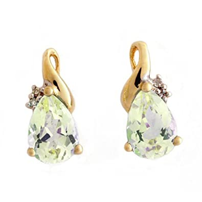 0dba09215b5c3 Ornami Glamour 9CT White Gold Diamond Set Teardrop Blue Topaz Stud Earrings