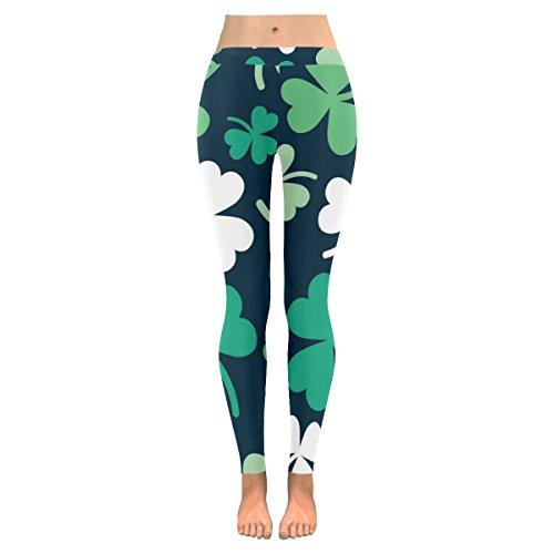 INTERESTPRINT Summer Clover Shamrock Custom Stretchy Capri Leggings Skinny Pants for Yoga Running Pilates Gym ()