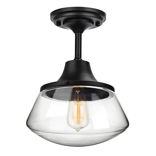 Petronius industrial semi flush mount ceiling light clear glass petronius industrial semi flush mount ceiling light clear glass pendant lighting shade edison vintage style hanging lights fixture aloadofball Gallery