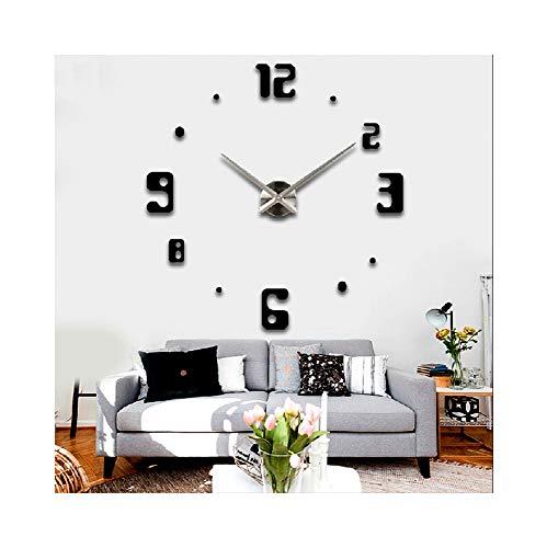 Alrens_DIY(TM)Luxury Arabic Numerals Large Size Modern Design DIY Frameless 3D Big Mirror Surface Effect Wall Clock Watches Home Living Room Bedroom Office Decoration Wall Sticker Decor(MQ-019-Black) - Arabic Square Clock