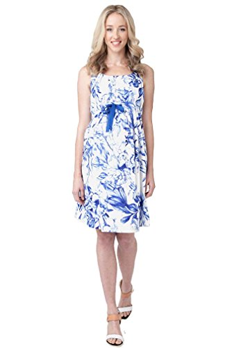 Ripe Maternity Porcelain Baby Shower/Party Dress - White/Blue - Medium by Ripe