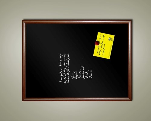 48'' x 36'' Extra-Large Framed Magnetic Black Chalk Board (Dark wood tone frame) by Hohmm